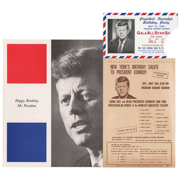 John F. Kennedy 1962 'Birthday Party' Ticket and Program