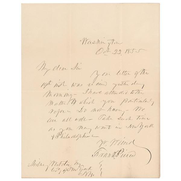 Franklin Pierce Autograph Letter Signed as President