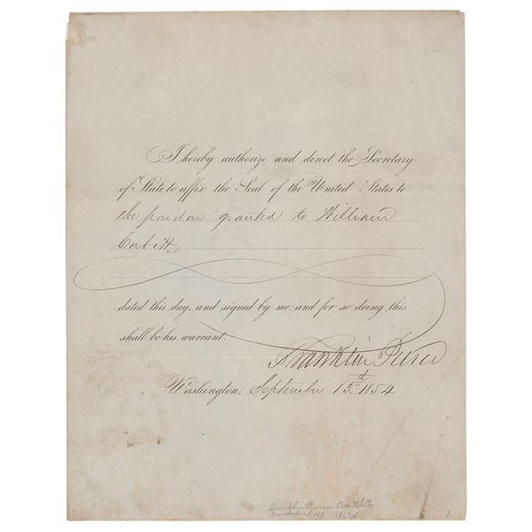 Franklin Pierce Document Signed as President