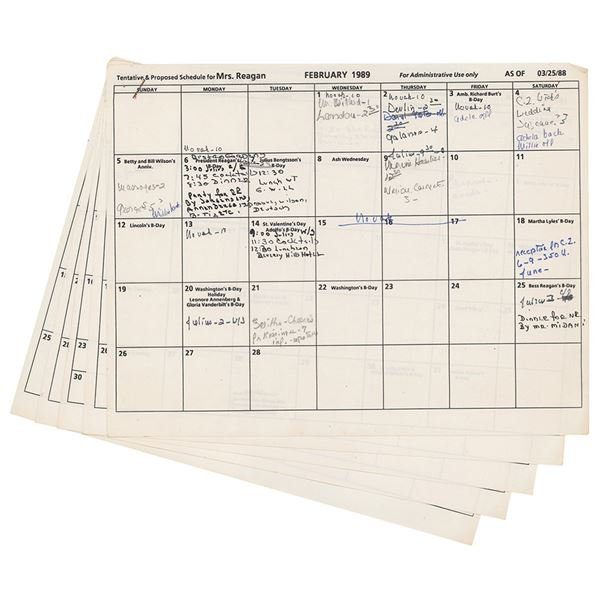 Nancy Reagan Annotated Schedule