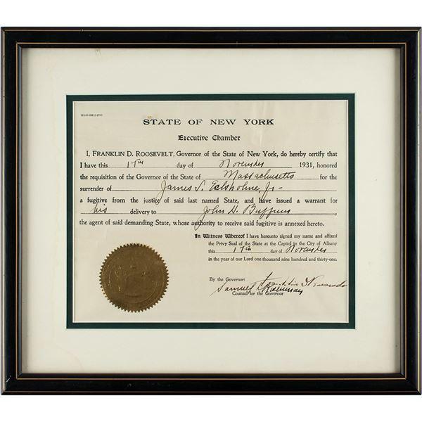 Franklin D. Roosevelt Document Signed