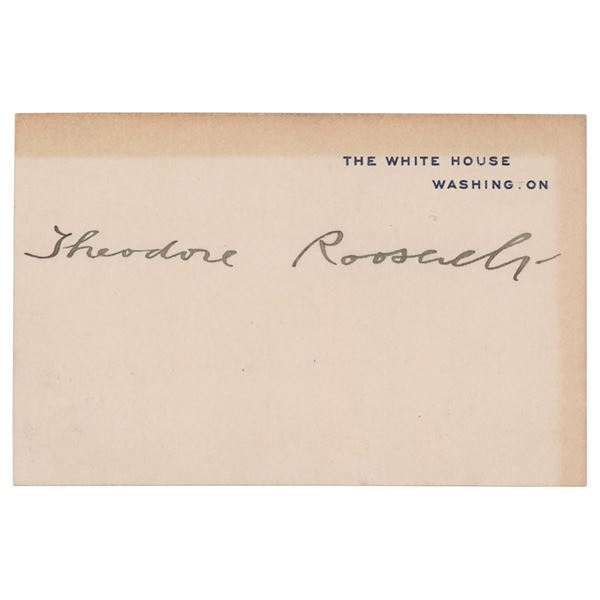 Theodore Roosevelt Signed White House Card