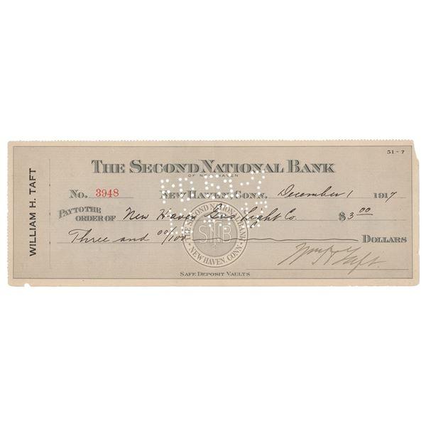 William H. Taft Signed Check