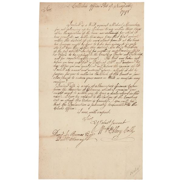 William Ellery Autograph Letter Signed