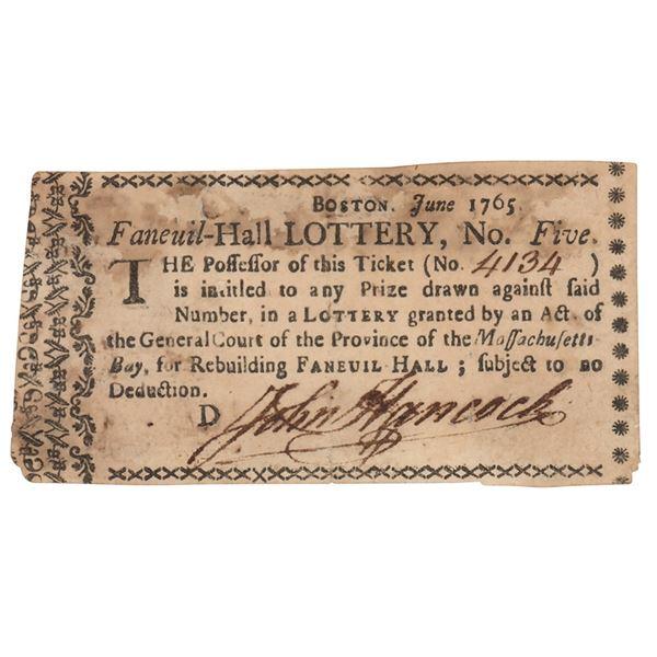 John Hancock Signed Lottery Ticket