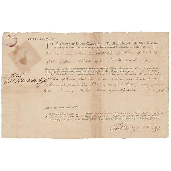 Thomas Heyward, Jr. Document Signed
