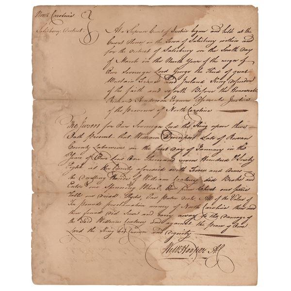 William Hooper Autograph Document Signed