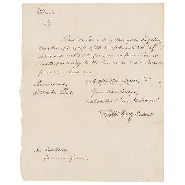 Thomas McKean Autograph Letter Signed