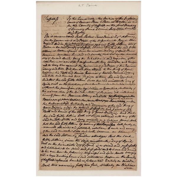 Robert Treat Paine Autograph Document Signed