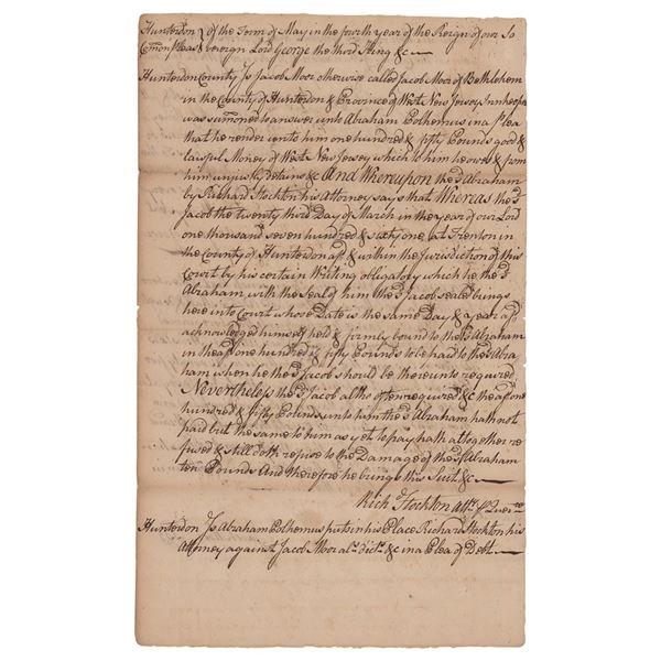 Richard Stockton Autograph Document Signed