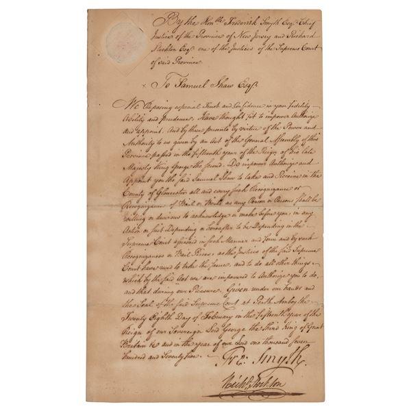 Richard Stockton Letter Signed