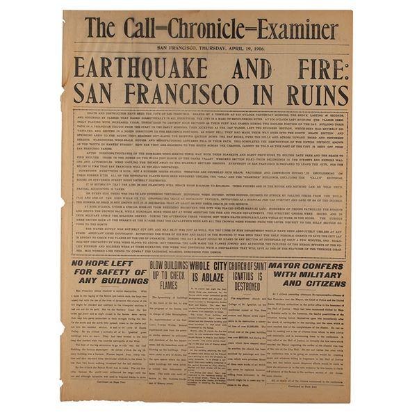 1906 San Francisco Earthquake Newspaper