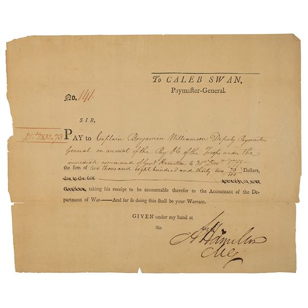Alexander Hamilton Document Signed as Commanding General