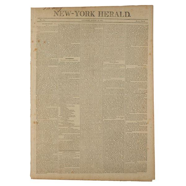 Alexander Hamilton and Aaron Burr Duel: New-York Herald Newspaper