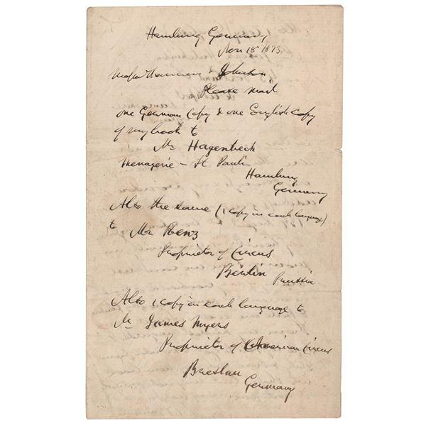 P. T. Barnum Autograph Letter Signed