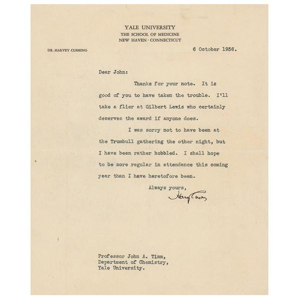 Harvey Cushing Typed Letter Signed