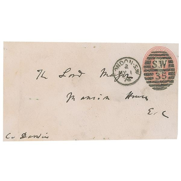 Charles Darwin Signed and Hand-addressed Envelope Panel