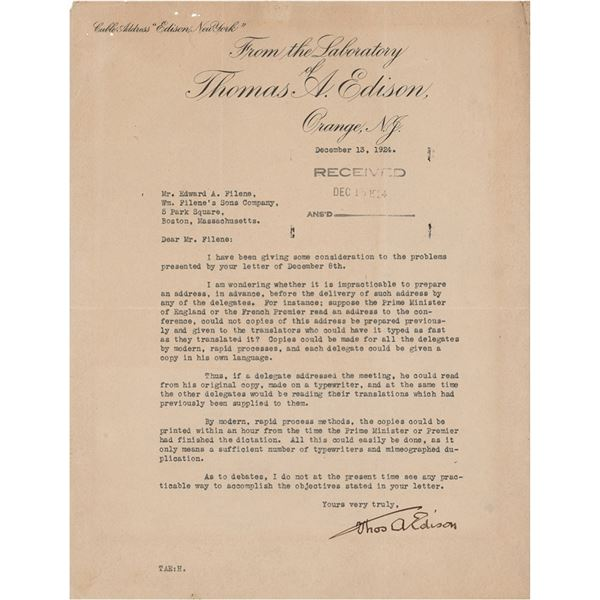 Thomas Edison Typed Letter Signed