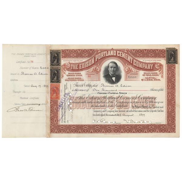 Thomas Edison Document Signed