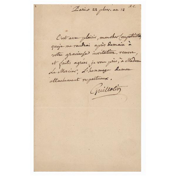 Joseph Guillotin Autograph Letter Signed