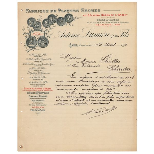 Auguste Lumiere Letter Signed