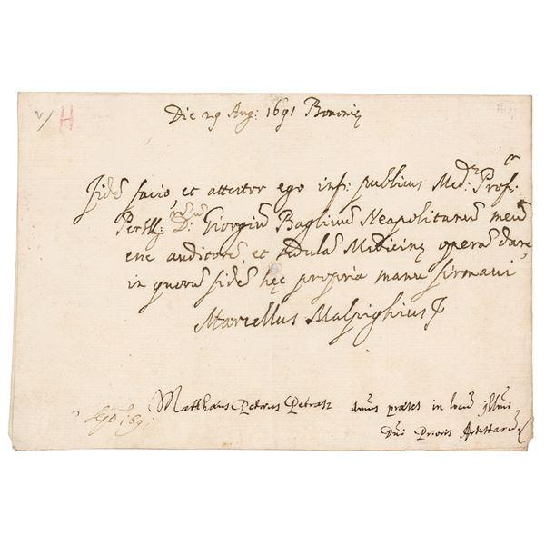 Marcello Malpighi Autograph Letter Signed