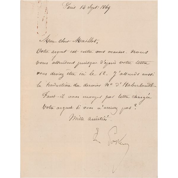 Louis Pasteur Letter Signed