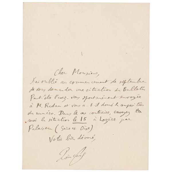 Henri Poincare Autograph Letter Signed
