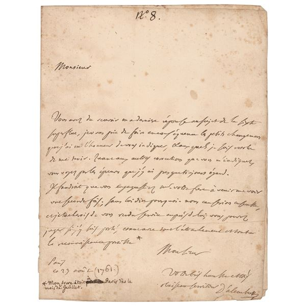 Jean le Rond d'Alembert Autograph Letter Signed