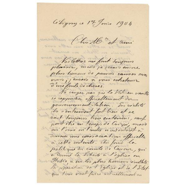 Vilfredo Pareto Autograph Letter Signed