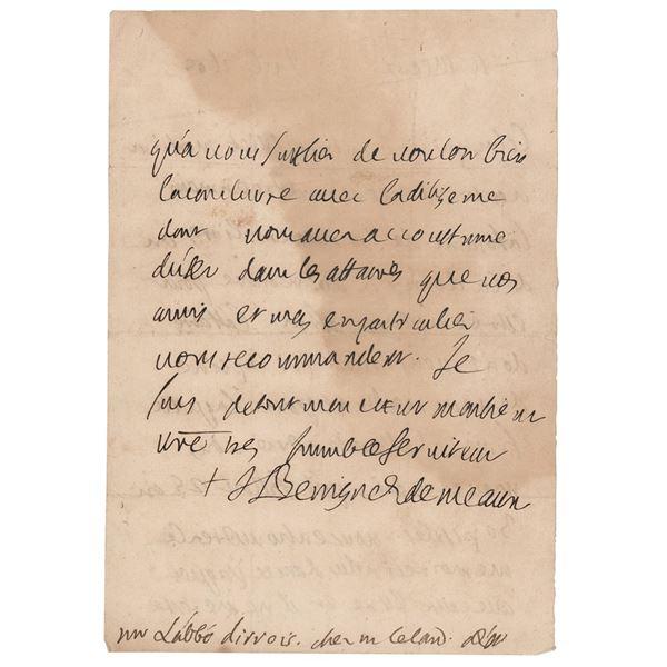 Jacques-Benigne Bossuet Autograph Letter Signed