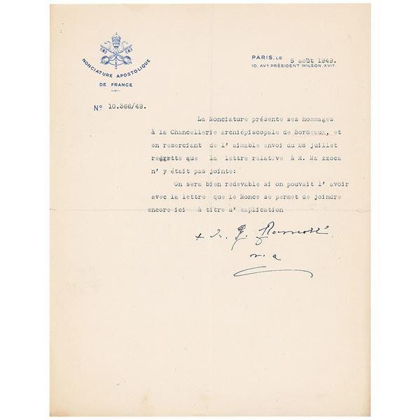 Pope John XXIII Typed Letter Signed