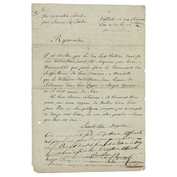Maximilien Robespierre Document Signed