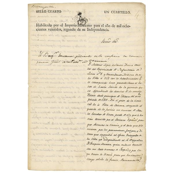 Antonio Lopez de Santa Anna Letter Signed