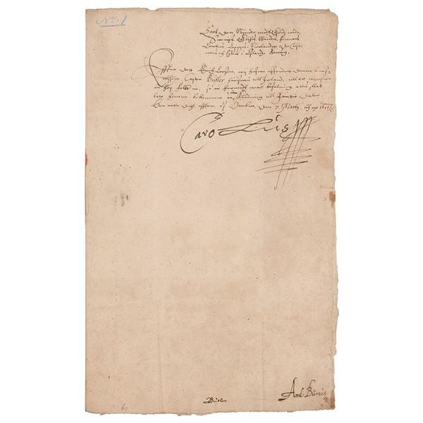 King Charles IX of Sweden Document Signed