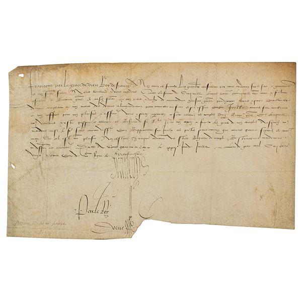 King Francis I Document Signed
