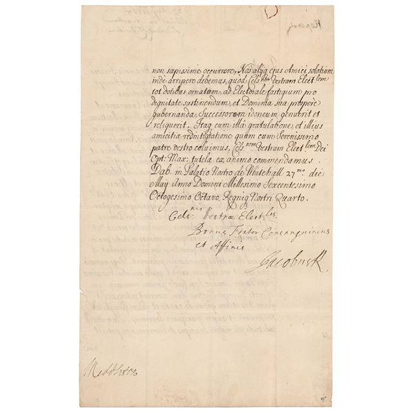 King James II Letter Signed