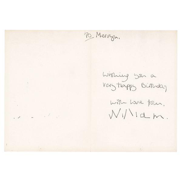 Prince William and Princess Diana Signed Card