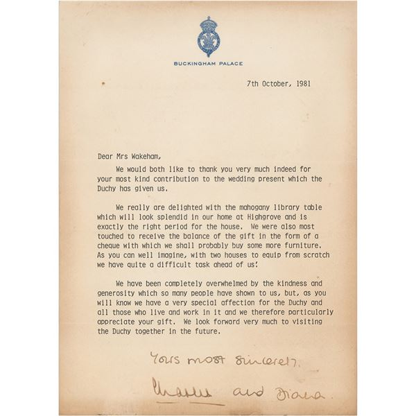 Princess Diana and Prince Charles Typed Letter Signed