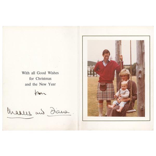 Princess Diana and Prince Charles Signed Christmas Card