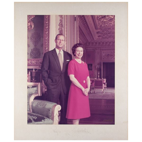Queen Elizabeth II and Prince Philip Signed Oversized Photograph