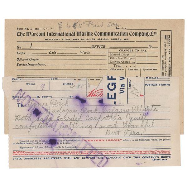 Titanic: Albert and Vera Dick Marconigram