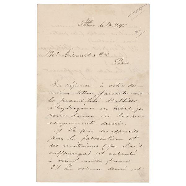 Salomon August Andrée Autograph Letter Signed