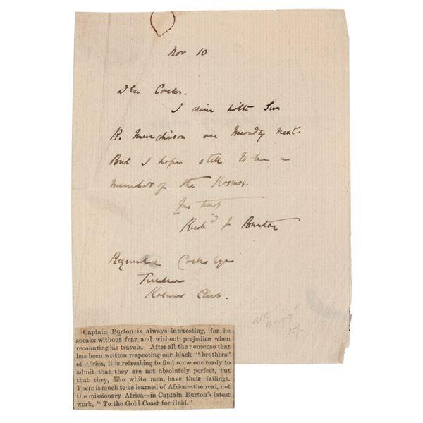 Richard Francis Burton Autograph Letter Signed