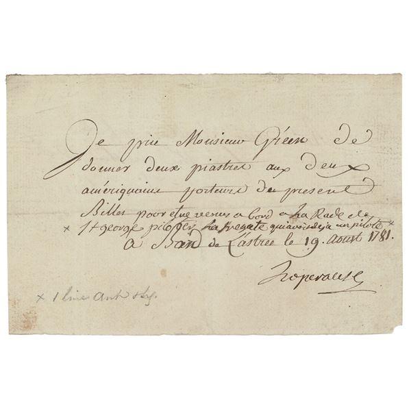 Jean-Francois de Galaupe, comte de Laperouse Document Signed