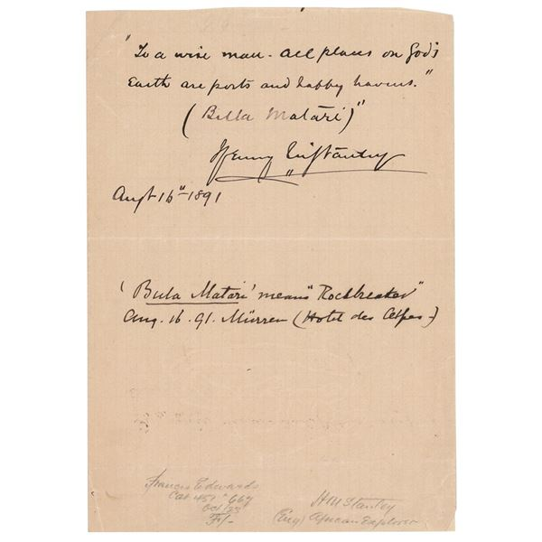 Henry M. Stanley Autograph Quotation Signed