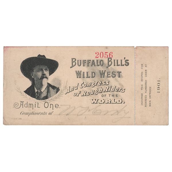 William F. 'Buffalo Bill' Cody Signed Ticket