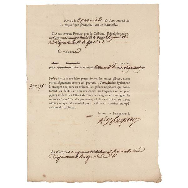 Antoine Quentin Fouquier-Tinville Document Signed