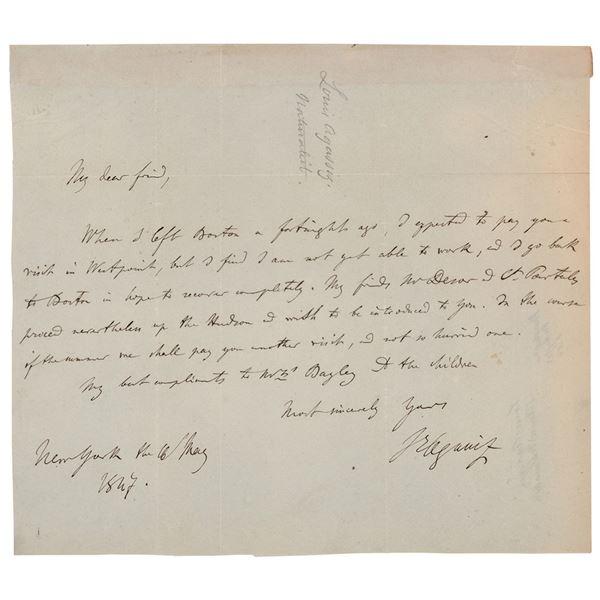 Louis Agassiz Autograph Letter Signed