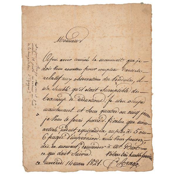 Francois Arago Autograph Letter Signed